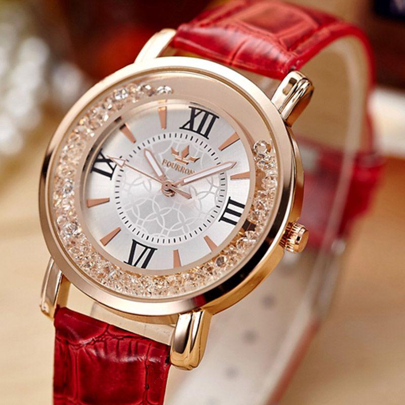 Ladies Fashion Rhinestone Watch Women Quartz Leather Casual Dress Women's Watch Rose Gold Crystal reloje mujer 2017 montre femme