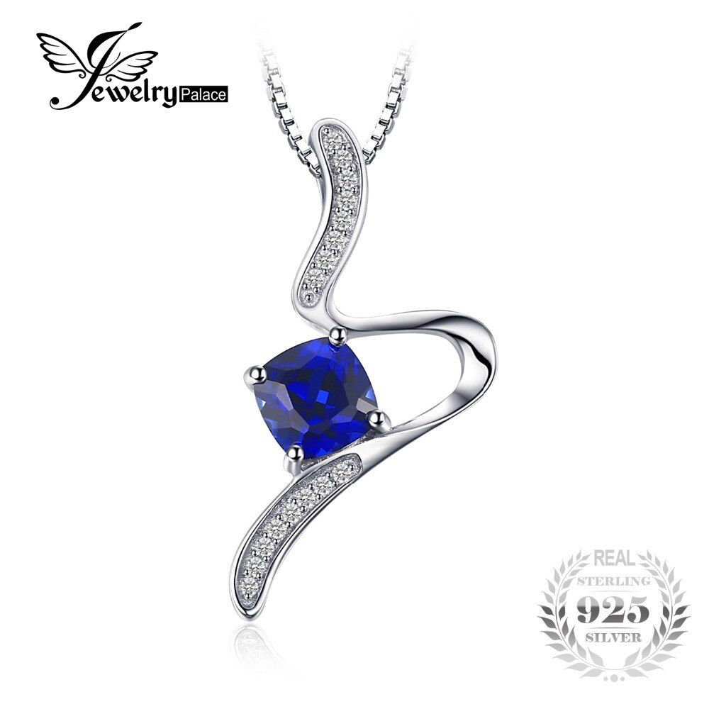 JewelryPalace Stylish 1.4ct Cushion Created Sapphire Pendant Necklace For Woman Pure 925 Sterling Silver Jewelry 45cm Box Chain