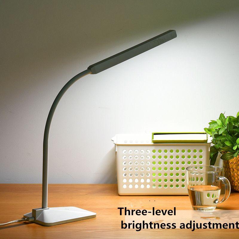 LED moderne lampe de bureau protection des yeux tactile Dimmable 3 niveaux lumière 5W col de cygne lampe étude lecture bureau Luminaria lampara