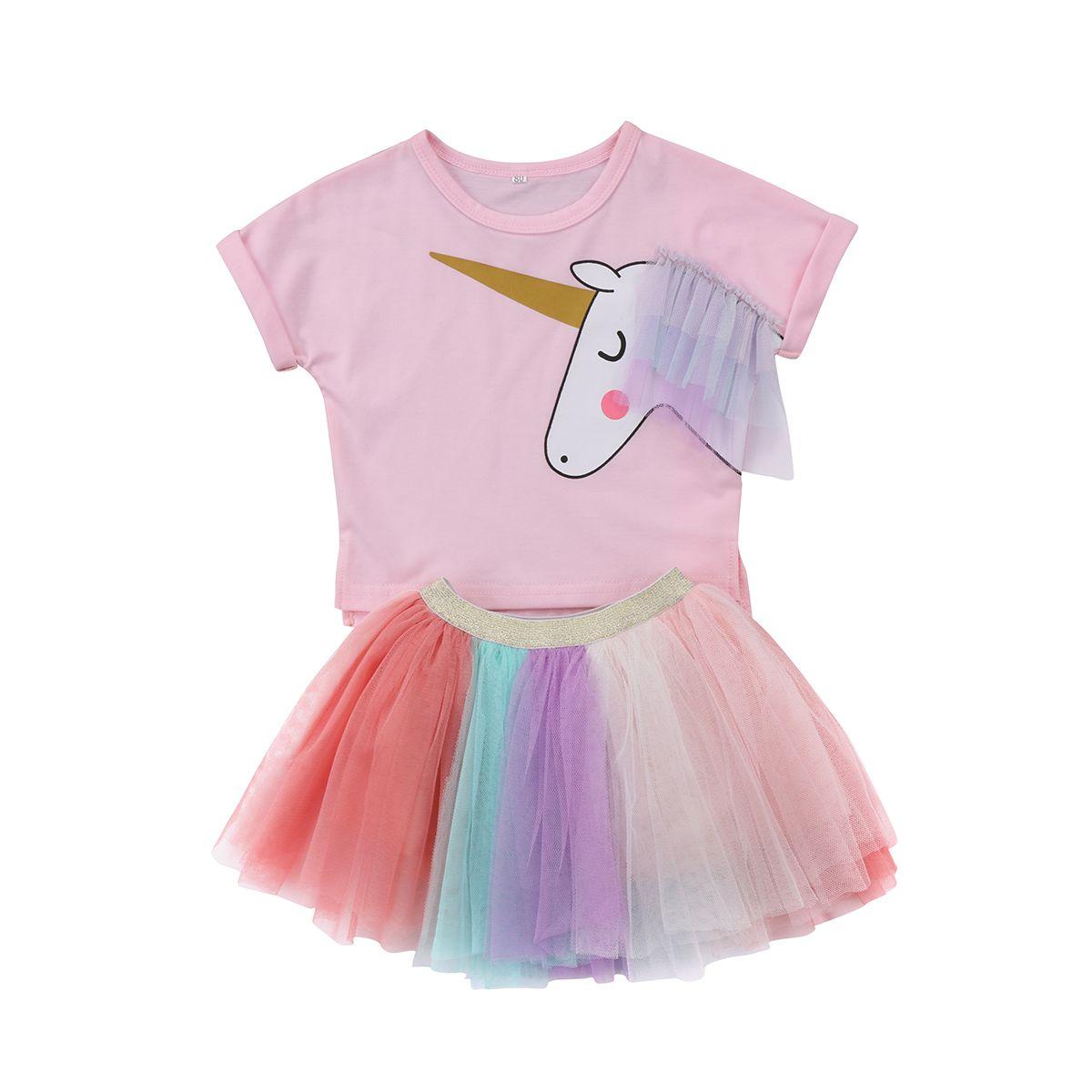 Niños bebé Niñas impreso Top camiseta + Encaje Tutu falda set ropa verano