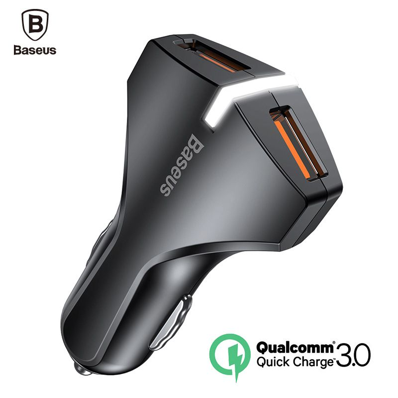 Baseus Quick Charge 3.0 Car Charger 5V3A Dual USB Port QC3.0 Quick Charger Mobile Phone Fast Charging Charger 2 USB Car-Charger