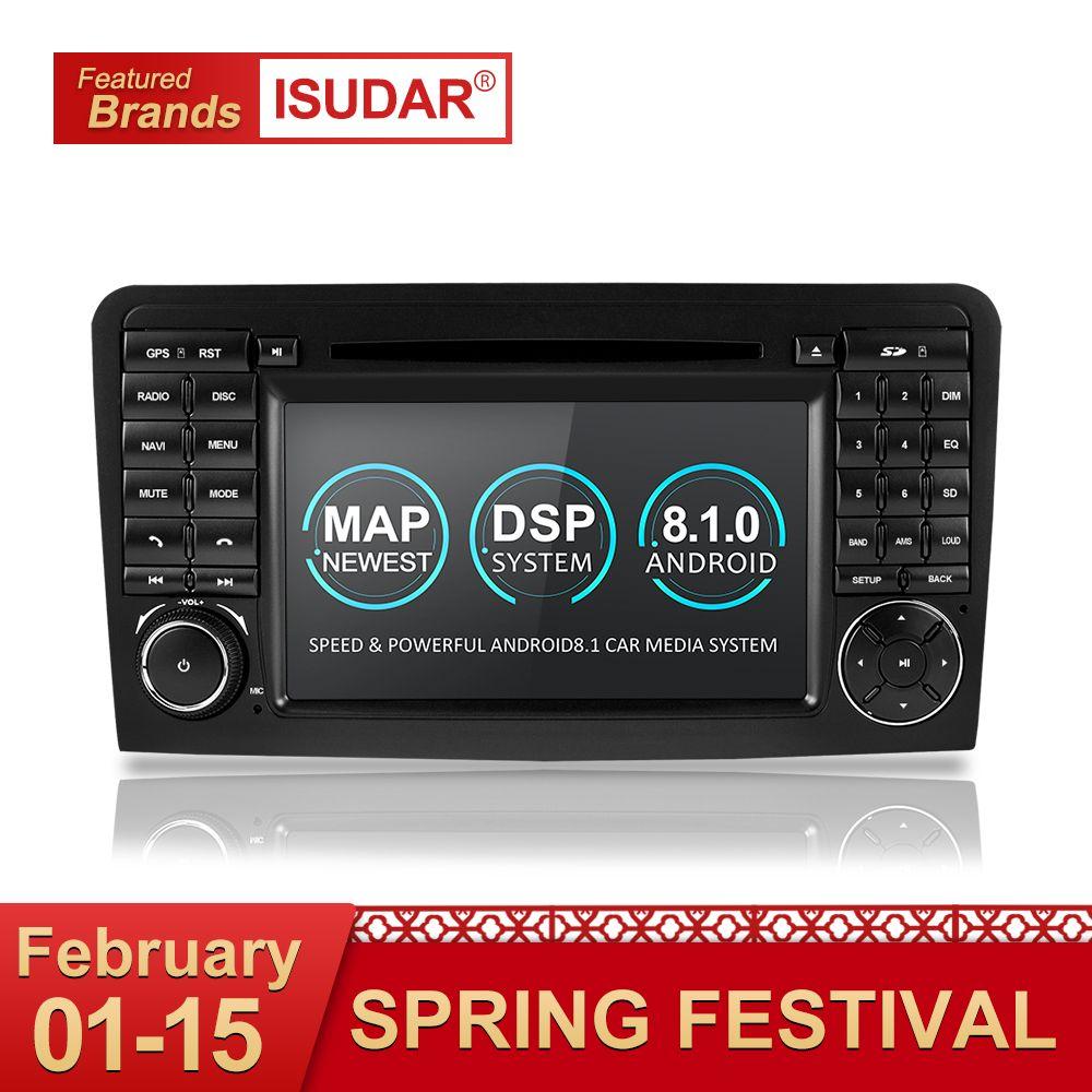 Isudar Zwei Din Auto Multimedia player GPS Android 8.1 DVD Player Für Mercedes/Benz/ML/GL KLASSE W164 ML350 ML500 GL320 Radio FM
