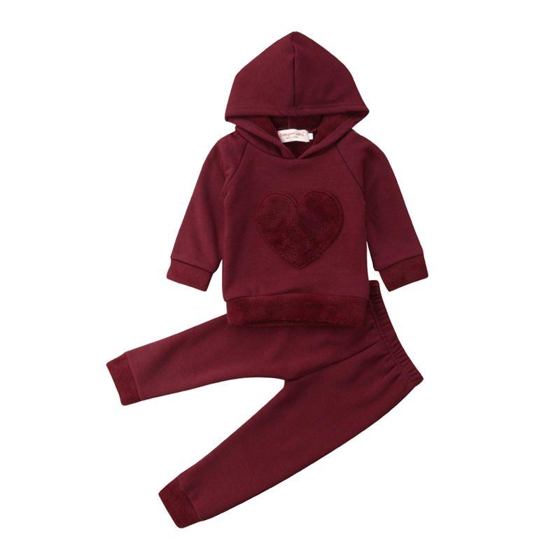 2 pièces nouveau-né bambin bébé garçons fille coeur rouge Sunsuit ensemble enfants filles coton à capuche sweat hauts pantalons longs tenue ensemble vêtements