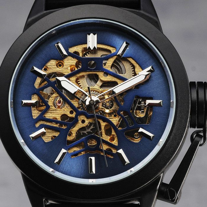 New Fashion Luxury Top Brand WINNER Automatic Mechanical Men Watches Steel Case Crown Cap Skeleton Black Rubber Band Wristwatch