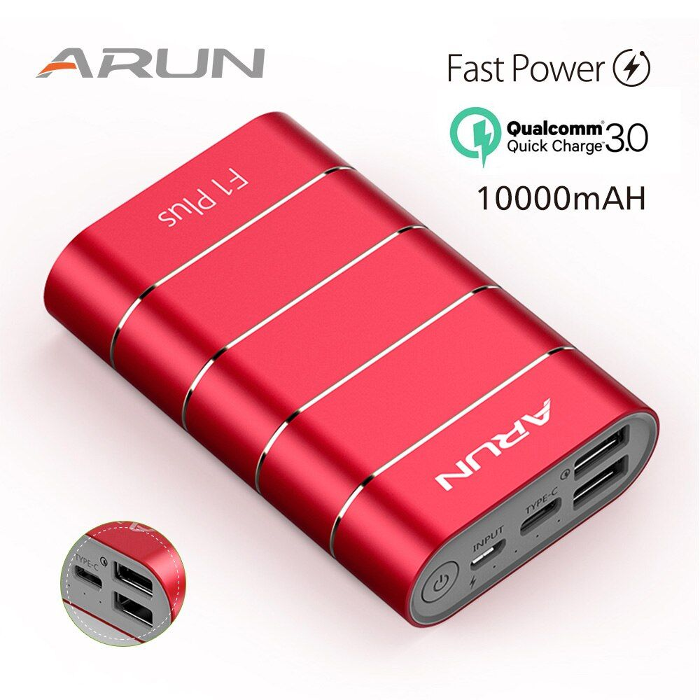ARUN F1Plus powerbank Original QC3.0 technology Dual USB ports Red 10050mah Power Bank For Phone Samsung IPad Tablet