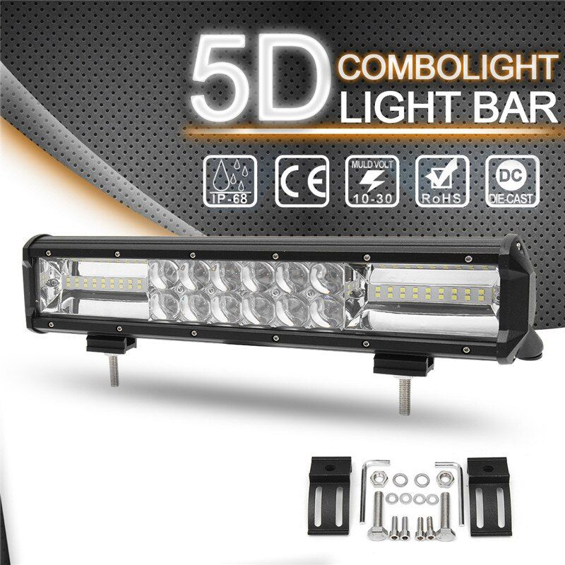 432W 14 Inch 5D Light Bar Work Light Flood Spot Combo LED Work Light Bar 6000K Waterproof For SUV ATV Car Truck Offroad Boat