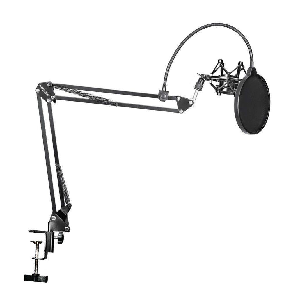 Neewer NB-35 Microphone ciseaux bras support micro clip de fixation et Table de montage pince & NW filtre pare-brise et métal Kit de montage