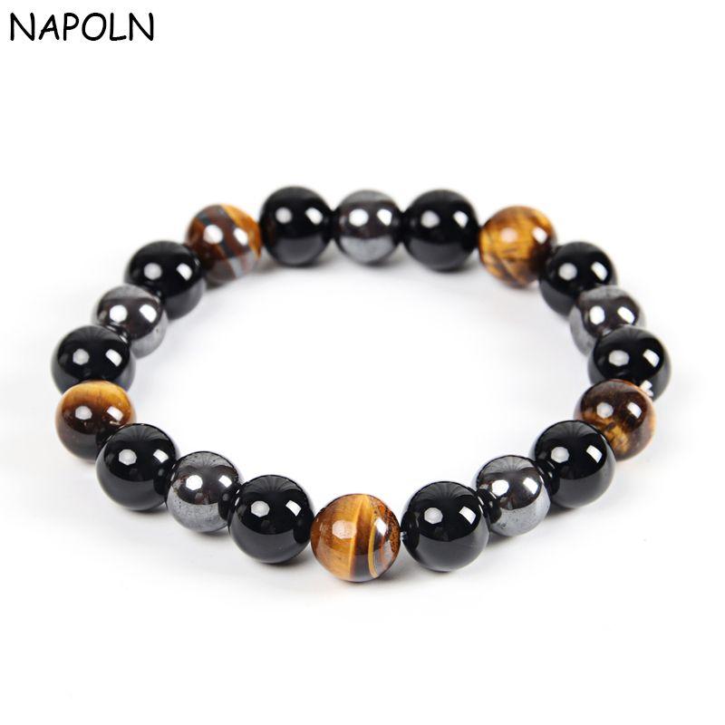 NAPOLN Men Bracelets Bangle Natural Stone Bracelets For Women 10MM Tiger Eye & Hematite & Black Obsidian Natural Stone Bracelet