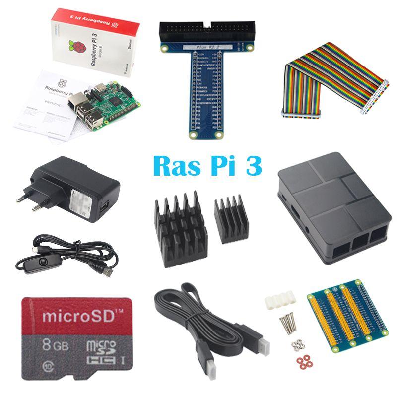 10 dans 1 Framboise Pi 3 + ABS Cas + 8 GB SD Carte + GPIO adaptateur + 2 pcs Dissipateur de chaleur + câble HDMI + 2.5A adaptateur avec interrupteur câble pour pi 3