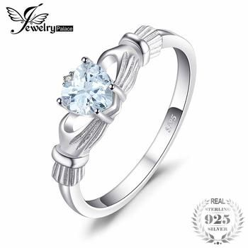 JewelryPalace Natural Aquamarine Irish Claddagh Ring Solid 925 Sterling Silver Love Heart Women Fine Gemstone Jewelry On Sale