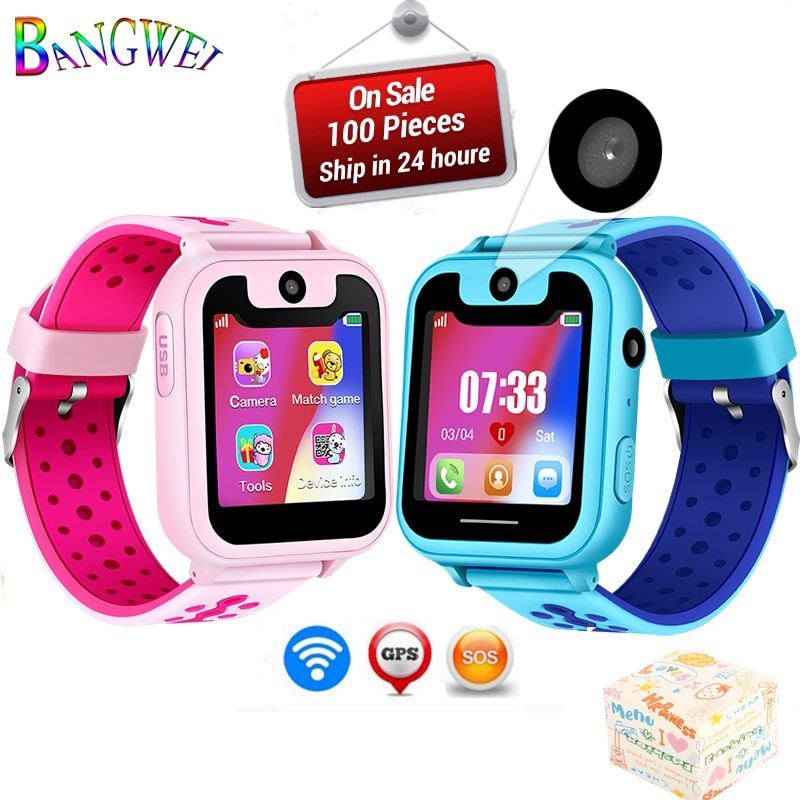 BANGWEI2018 Hot children phone watch SOS Emergency call lighting watch LED color screen health and safety Kid positioning watch