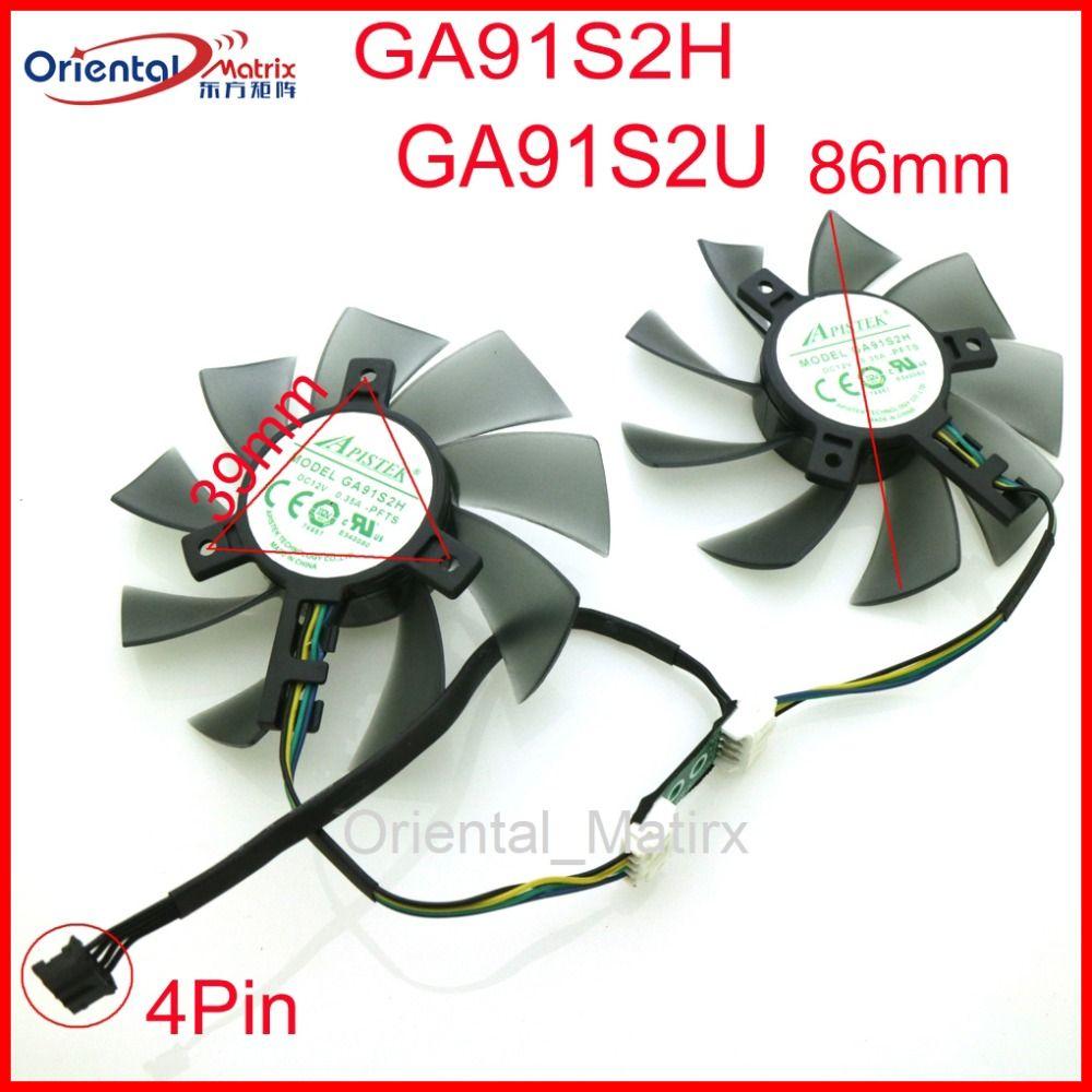 Free Shipping GA91S2H GA91S2U -PFTA DC12V 0.40A 4Pin 86mm VGA Fan For GEFORCE GTX1080 GTX1070 GTX1060 Graphics Card Cooling Fan