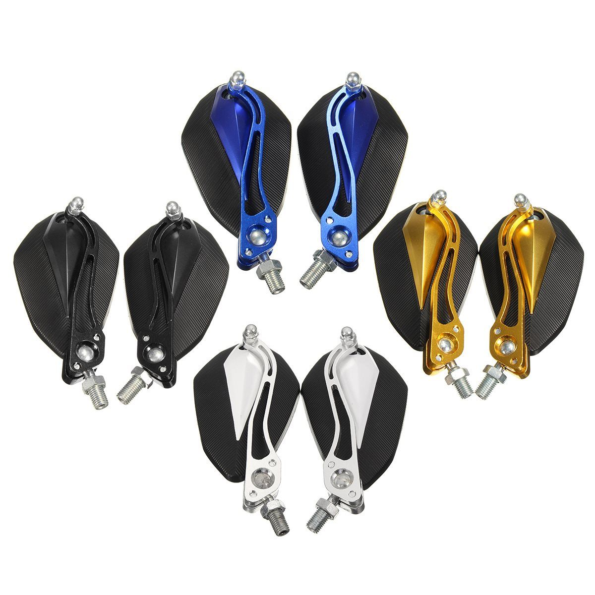 A Pair Universal Black Gold Blue Silver 10mm 8mm Motorbike Motorcycle Rear View Mirrors for Yamaha For Honda For Suzuki