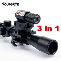 4X20 Senapan Optik Lingkup Taktis Panah Riflescope dengan Titik Merah Penglihatan Laser dan 11 Mm Rel Gunung untuk kaliber 22 Senjata Berburu