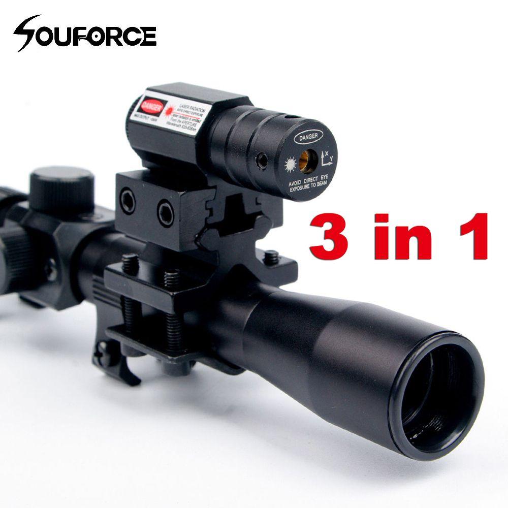 Lunette de visée tactique d'arbalète de portée optique de fusil 4x20 avec visée Laser à point rouge et supports de Rail de 11mm pour pistolets de calibre 22 chasse A