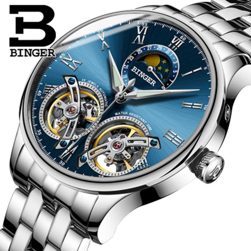 Genuine Switzerland BINGER Brand Men Self-wind waterproof full steel automatic mechanical male fashion Two Tourbillon watch