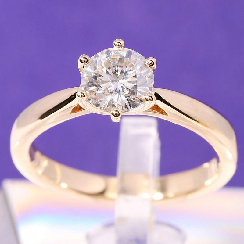 Transgems Solitaire Engagement Ring 14k Yellow Gold 1 carat Diameter 6.5mm F Color Moissanite Engagement Ring For Women Wedding