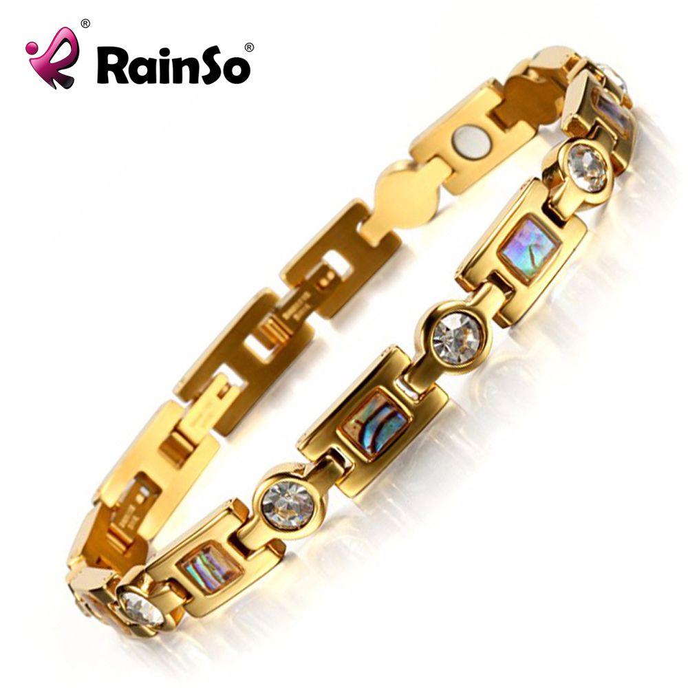 Rainso Bio Energy Bracelet with 3 Smart Buckles Magnet Bracelet Health <font><b>Care</b></font> Elements Gold Bracelets For Women Girlfriend Gift