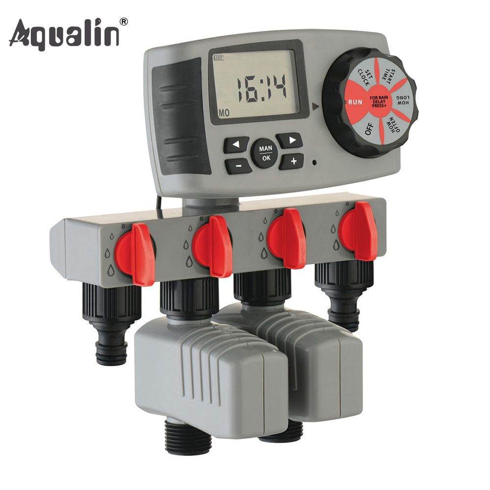 Aqualin Automatic 4-Zone Irrigation System Watering Timer <font><b>Garden</b></font> Water Timer Controller with 2 Solenoid Valve #10204A