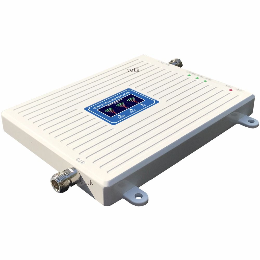 VOTK TRI band signal BOOSTER GSM DCS 3G SIGNAL REPEATER 2G 3G 4G 900/1800/2100MHZ MOBILE SIGNAL ANTENNA AMPLIFIER LCD DISPLAY