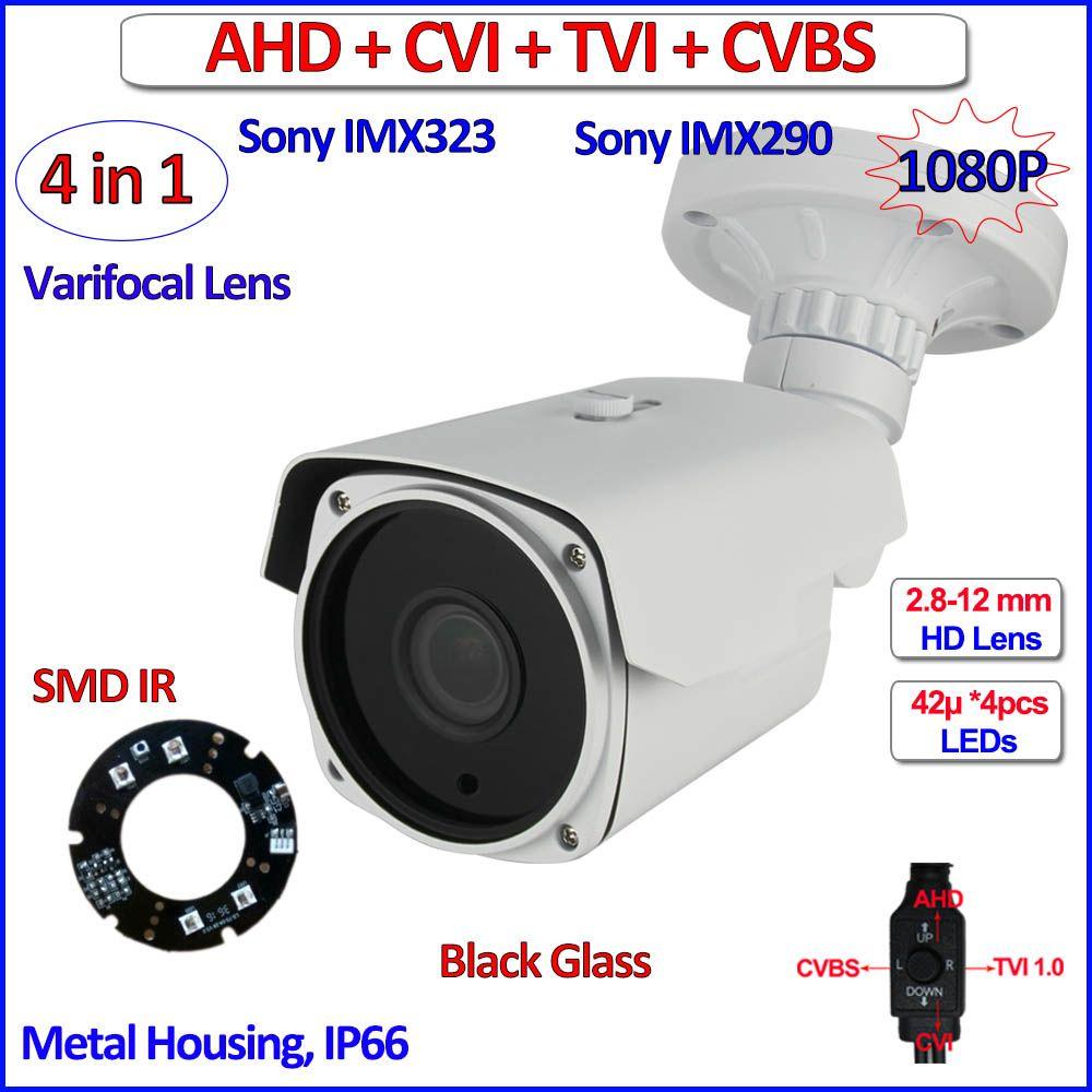HD Analog imx290 bullet camera 1080P AHD-H AHD L IMX323 Night Vision security camera outdoor, varifocal Lens, OSD, +free bracket