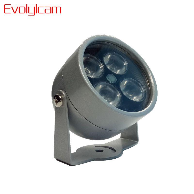 Evolylcam 4 IR LED Infrared Illuminator Light IR Night Vision for CCTV Security Cameras Fill Lighting metal Gray Dome Waterproof