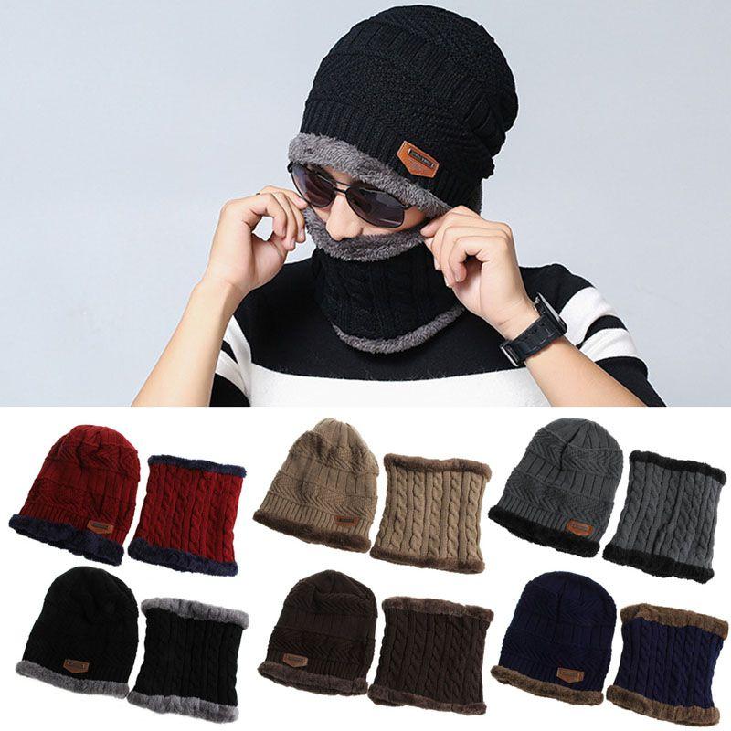Men Women CampingHat Beanie Baggy Warm Winter Wool Fleece SkiCap + Nec ker chief Scarf collar Multi-piece sets