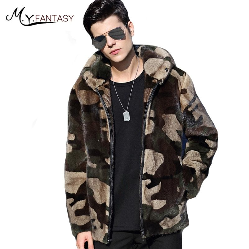 M.Y.FANSTY 2017 Winter Youth Real Fur Swan Velvet Man Coat Camouflage Mink Coat Stand Collar Business Casual With Hat Mink Coats