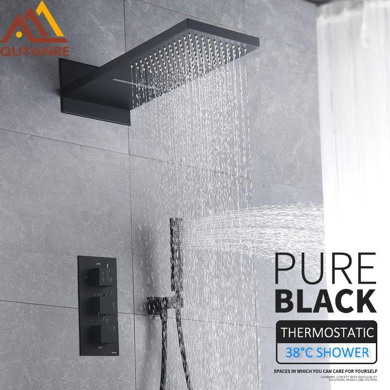 Quyanre Schwarz Thermostat Duscharmatur Set Regen Wasserfall Duschkopf Mit 3-way Thermostat Mischbatterie Bad Dusche Wasserhahn