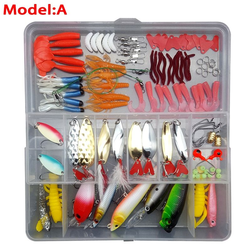 Fishing Lures Set Hard Soft Lures Popper Minnow Vib Spoon Jig Head Bait Kit with Box Pesca Fishing Tackles Acessories FU84