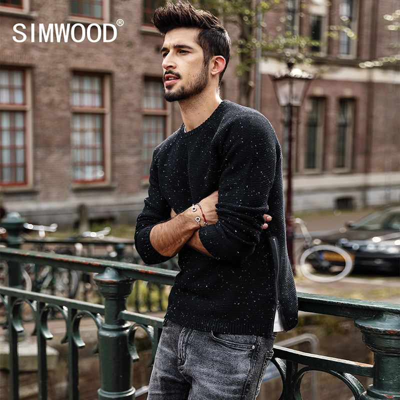 SIMWOOD Sweater Men 2018 autumn  Winter New Slim Fit Fashion Zipper Knitted Pullovers White Dot High Quality Plus Size MT017035
