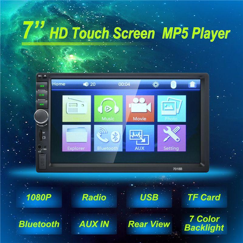 Autoradio 2 Din General Car Models 7'' inch LCD Touch Screen Car Radio Player Bluetooth Car Audio Support Rear View Camera 7018B