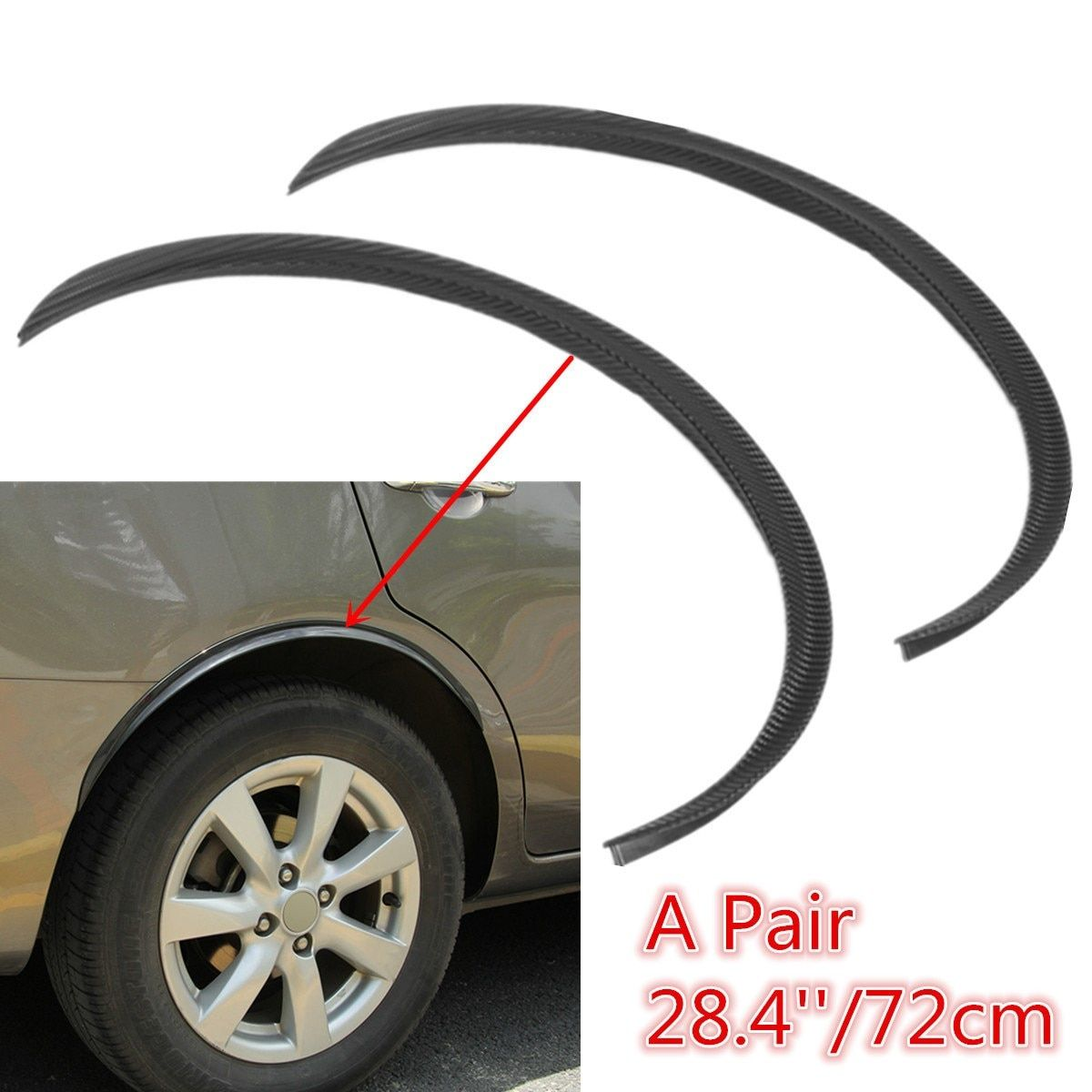 2Pcs/pair Universal Black Car Carbon Fiber Large Round Arc Strip Protector Wheel Eyebrow Decal Sticker For Fender