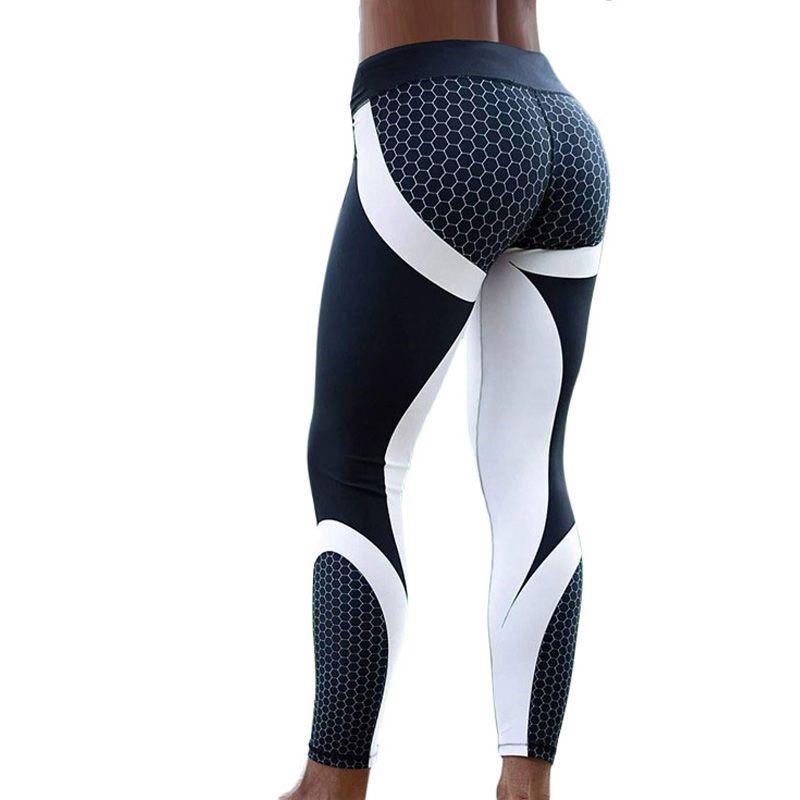 Hayoha maille motif imprimé Leggings fitness Leggings pour femmes sport entraînement Leggins élastique Slim noir blanc pantalon