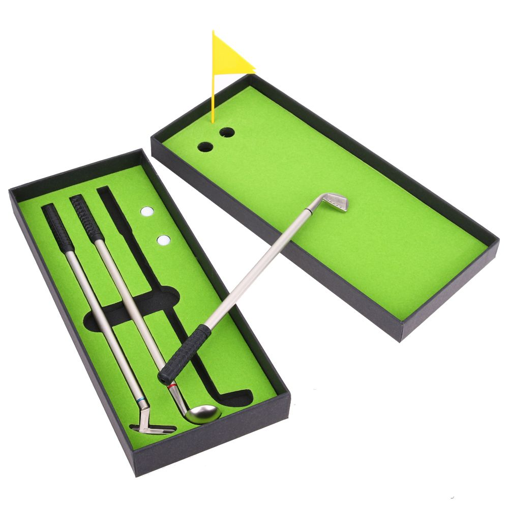 3pcs Mini Golf Clubs Models Ballpoint Pens 2 Golf Balls + Flag Putter Kit Set with Box Birthday Gift for Golf Sports Enthusiast