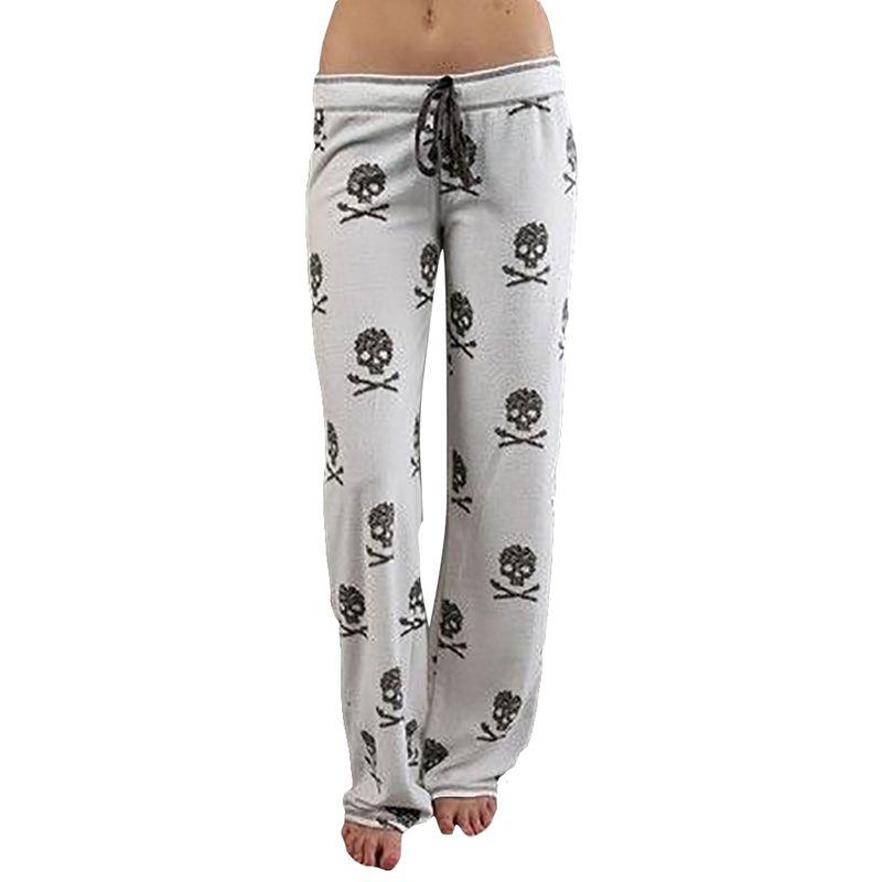 FancyQube 2017 Women Pants Casual Low Waist Flare Wide Leg Long Pants Palazzo Trousers Skull Printed Pajama Pants At Home