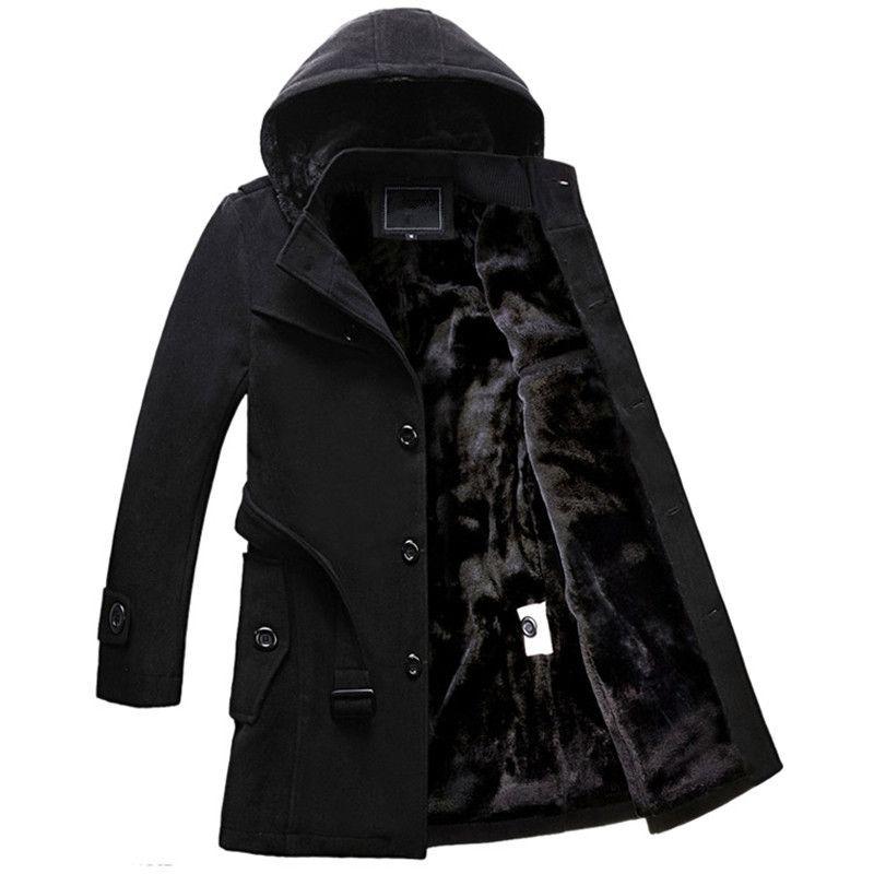 Winter Mens Hooded Wool Coat Men Single Breasted Thicken Velvet Warm Long Overcoat Male Long Woolen trench Jacket 102105
