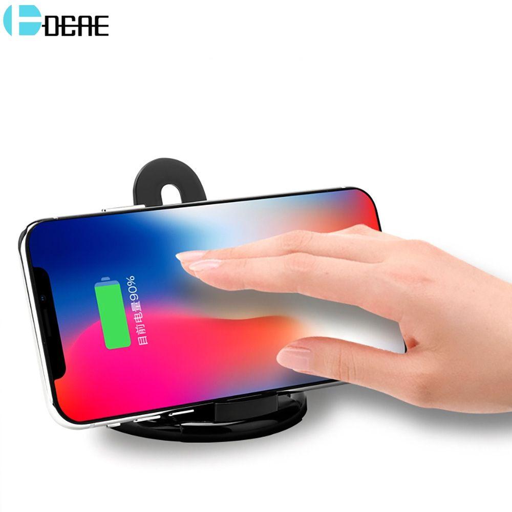 DCAE Qi Sans Fil Chargeur Pad Pour iPhone X 8 Samsung S8 Note 8 Charge Rapide Mobile Téléphone De Bureau Sans Fil De Charge Dock Station