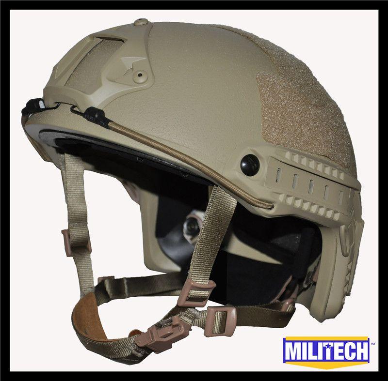 ISO Zertifiziert MILITECH DE TAN OCC Zifferblatt NIJ Level IIIA 3A SCHNELLE High Cut Kugelsichere Aramid Ballistischen Helm Mit 5 jahre Garantie