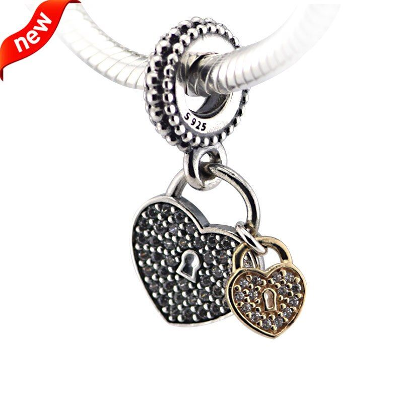 Fits Pandora Bracelets Love Locks Silver Beads with 14K Gold Original 100% 925 Sterling Silver Charms DIY Jewelry 09338