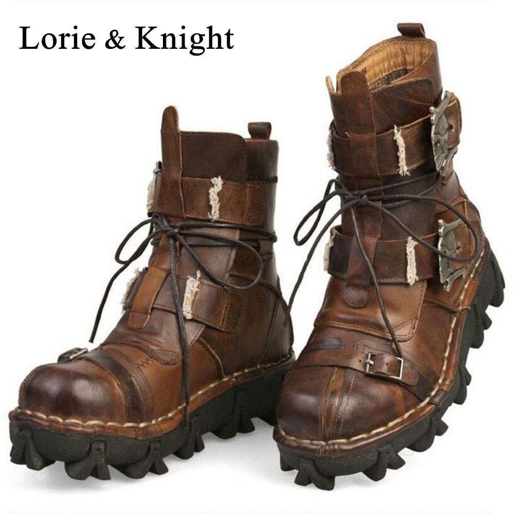 Men's Cowhide Genuine Leather Motorcycle Boots Military Combat Boots Gothic Skull Punk Martin Boots