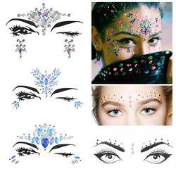 1 hoja 3D etiqueta engomada cristalina elegido a dedo Bohemia Tribal estilo cara y ojos joyas frente decoración etapa tatuaje temporal etiqueta