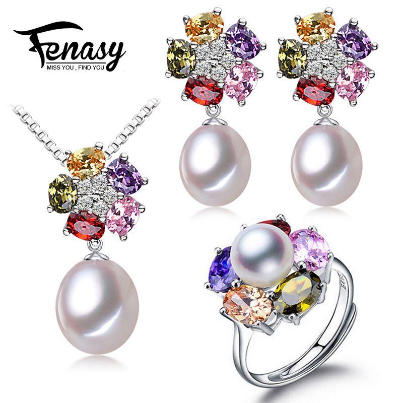 FENASY naturel perle Couleur fleur ensemble de bijoux pour les femmes perle ensembles 925 bijoux en argent sterling de mariage fille d'anniversaire cadeau boîte