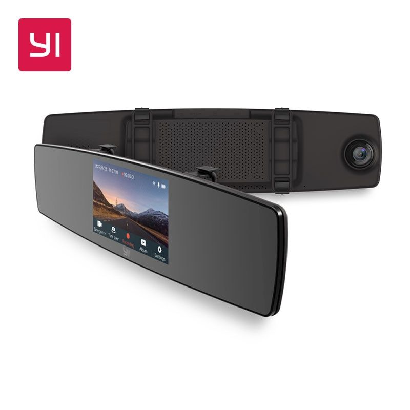 YI Mirror Dash Cam Dual Dashboard Camera Recorder Touch Screen Front Rear View HD Camera G Sensor Night Vision Russian Stock