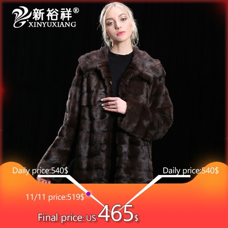 2018 luxury 100% Real Mink Fur coat Women Winter Genuine Leather Clothes Thick long warm Natural real Fur Jackets Customize 19NO