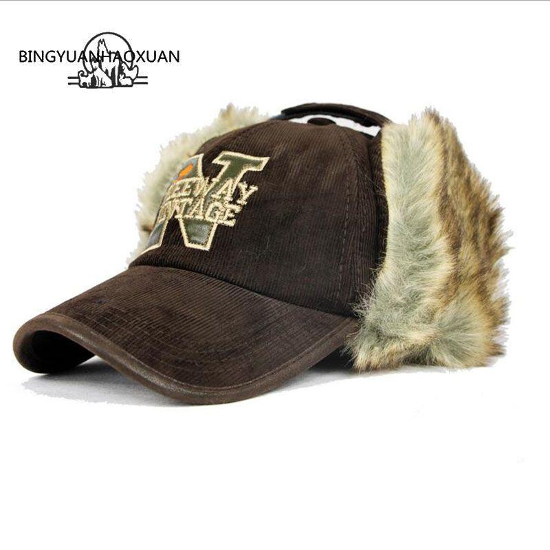 BINGYUANHAOXUAN 2017 New Warm Ear Protection Winter Baseball Caps Female Unisex Winter Hat Visor Bone Gorras Planas Mens Hats
