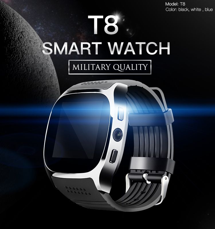 T8 Men Kids Bluetooth Smart Watch With Sim Card Slot Camera Alarm Clock MTK6261D 380mah Battery For IOS Android Smartwatch