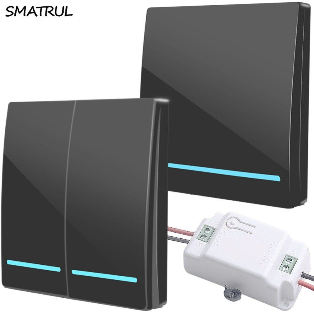 SMATRUL 433Mhz Wireless smart push Switch Light button RF Remote Control AC 110V 220V Receiver Wall Panel Bedroom Ceiling Lamp