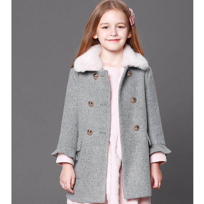 Girls' woolen jackets Europe and the United States 2018 new plus cotton fall and winter thick long section of kids woolen coats