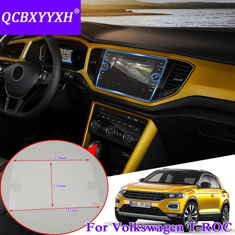 QCBXYYXH For Volkswagen T-ROC 2018 Car Styling GPS Navigation Screen Glass Protective Film Dashboard Display Protective Film